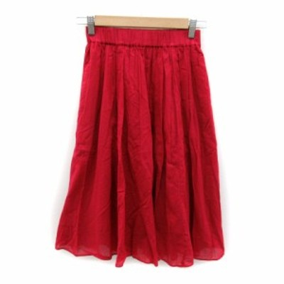 【中古】クミキョク 組曲 KUMIKYOKU スカート ギャザー ミモレ丈 無地 S2 赤 レッド /SY25 レディース