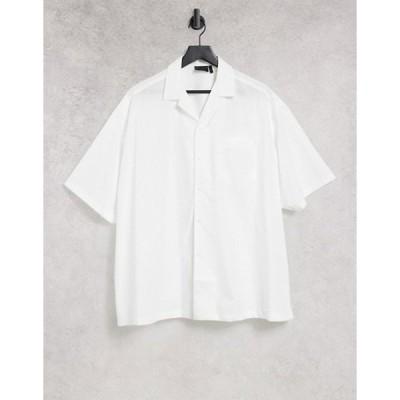 エイソス メンズ シャツ トップス ASOS DESIGN extreme oversized shirt with short sleeve in white