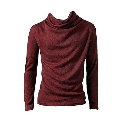 BUZZ WEAR [バズ ウェア] モックネック tシャツ 長袖 アフガンネック 無地 シンプル キレイめ 白 黒 グレー(ダークレッド M)