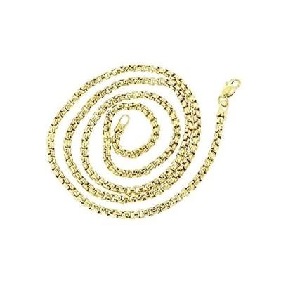[新品]Luxurman 14Kゴールドソリッド光沢ラウンドボックスチェーン イエローまたはホワイト 2.4mmワイドリンクネックレス ロブスタークラスプ付き