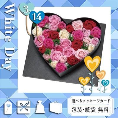 お盆 お供え 御供 造花、アートフラワーアレンジメント ソープフラワー デラックスハートアレンジ(LEDライト付)Mサイズ ピンク