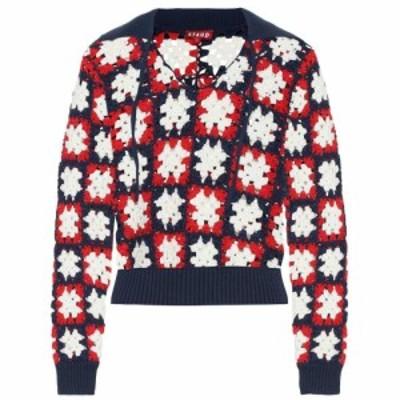 スタッド Staud レディース ニット・セーター トップス Clam crochet cotton sweater Navy/Tomato