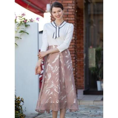 【大きいサイズ】チューリップ柄オパールフレアスカート 大きいサイズ スカート レディース