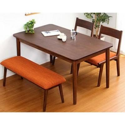 ダイニングテーブル+チェア+ベンチ 130×75×64cm 四角形 3脚 ブラウン色 YTSH01RIS4BB