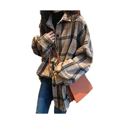 チェックシャツ レディース ゆったり シャツ 韓国 長袖 ファッション トップス チェック柄 薄手 アウター オーバーサイズ(s2111131328)