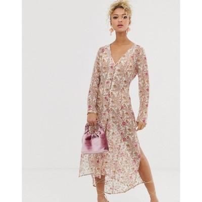 ネバーフリードレスド レディース ワンピース トップス Never Fully Dressed sheer floral print shirt dress in multi
