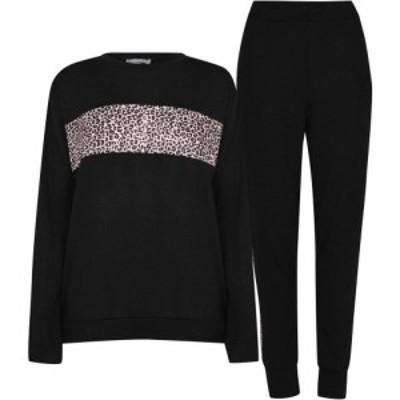 リネアペレ Linea レディース ジョガーパンツ ボトムス・パンツ Animal Print Top and Joggers Tracksuit Loungewear Co Ord Set Black