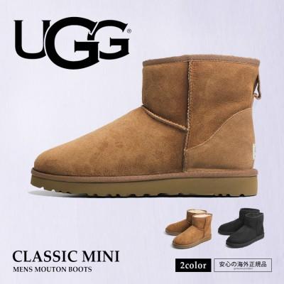 アグ UGG ムートンブーツ クラシックミニ CLASSIC MINI 1002072 メンズ ブーツ シープスキン ファー 本革 靴 ショート丈 おしゃれ  カジュアル クラシック 定番 ブラック