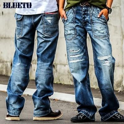 ストレートデニム ジーンズ ヴィンテージ ストレート  ベイカーパンツ  ズボン ベイカーパンツ メンズ レディース  BLUETO