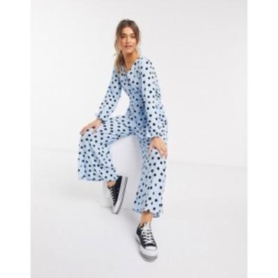 エイソス レディース ワンピース トップス ASOS DESIGN wrap tie jumpsuit in blue & black polka dot Pale blue