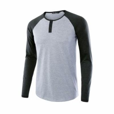 Allegra K tシャツ 長袖 ヘンリーネック ジャージ ラグラン長袖 カジュアル メンズ グレー L/42