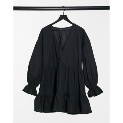 エイソス レディース ワンピース トップス ASOS DESIGN cotton poplin casual wrap front tiered mini smock dress with long sleeve in black
