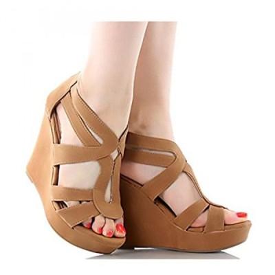 トップモーダ レディース パンプス Women's Strappy Open Toe Platform Wedge