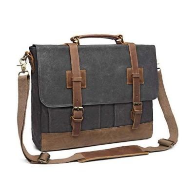 海外限定 Messenger Bag for Men 15.6inch Waterproof Waxed Canvas Genuine Leather Briefcase Computer Laptop Bag Large Satchel Shoulder Bag