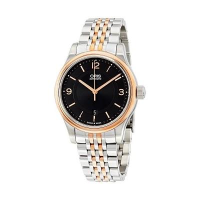 Classic Date Black Dial Two-tone Steel Men's Watch 並行輸入品