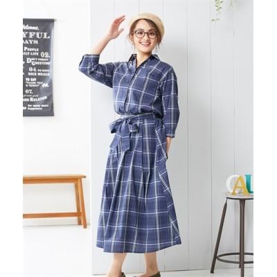 小さいサイズ 七分袖スキッパーシャツ&スカートセットアップ 【小さいサイズ・小柄・プチ】ワンピース, Dress