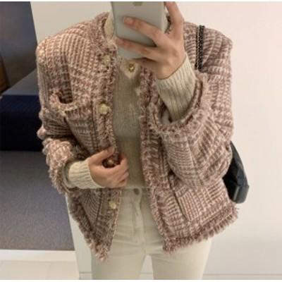 ゴールドボタンツイードジャケット レディース エレガント ウールジャケット 秋冬 ベージュ ピンク
