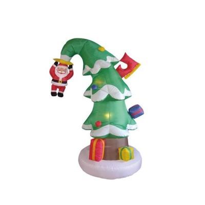 6 Foot トール クリスマス インフレータブル サンタ Claus on クリスマス トゥリー ファニー Lighted Yar(海外取寄せ品)