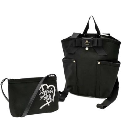 送料無料 美品 ランバンオンブルー トートバッグ リュックサック バックパック バッグ 鞄 481612 ジュール 2WAY ナイロン 黒系 レディース