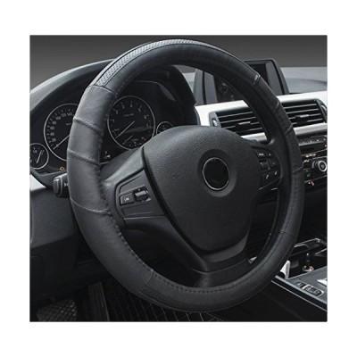 ontto ステアリングカバー ハンドルカバー 軽自動車適用 触感良い 滑り止め オールシーズン用 Mサイズ 38cm 本革 黒