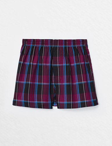 (男款)格紋控.平織舒適四角內褲(水藍/紫/灰/粉格)