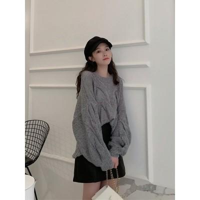 2020年初秋の新商品セット小香風洋風丸首ニットセーター半身スカートファッション2点セット