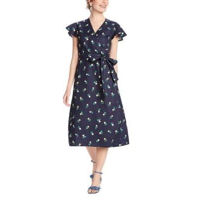 ドレッパージェームス ワンピース トップス レディース Draper James Floral Linen Wrap Dress Nassau navy
