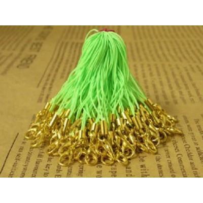 カニカン付き携帯ストラップ50本セット黄緑色×金ゴールド