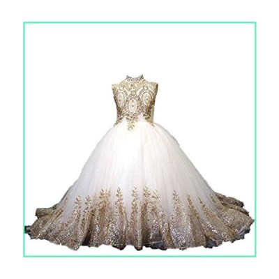 gsunmmw Gold Lace Flower Girl Dresses for Wedding Beaded Pageant Ball Gown First Communion Dress for Girls GS098並行輸入品