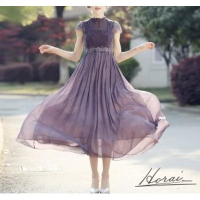 パーティードレス 結婚式 二次会 ワンピース 大きいサイズ 結婚式 お呼ばれドレス ひざ ミモレ丈 ドレス ラベンダー ワンピース 透け感