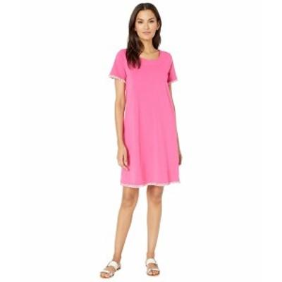 トリバル レディース ワンピース トップス T-Shirt Dress w/ Fringe Hot Pink