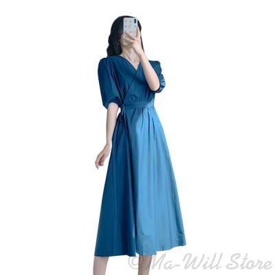 ワンピース レディース ドレス 半袖 ロング マキン丈 ゆったり ベルト シンプル お洒落 着痩せ お出かけ デート