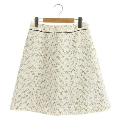 【中古】エルザ ELSA スカート 台形 膝丈 ツイード 1 白 黒 /AO レディース 【ベクトル 古着】