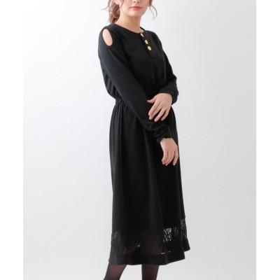 大きいサイズ ローズファンファン 裾レース切替カットショルダーワンピース ,スマイルランド, ワンピース, plus size dress