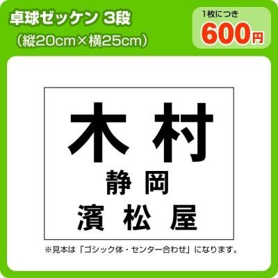 ゼッケン 卓球用3段レイアウト W25cm×H20cm