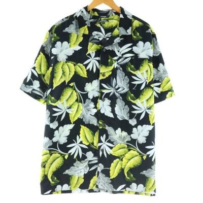 George リーフ柄 総柄 オープンカラー ハワイアンアロハシャツ メンズXL /eaa145696
