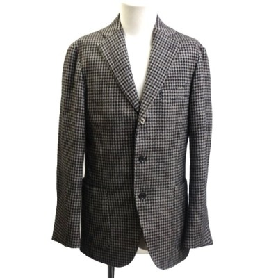ISETAN MEN'S 千鳥格子柄ウールテーラードジャケット グレー サイズ:48 (銀座店) 201024