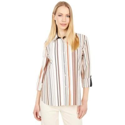 リジー レディース シャツ トップス Roll Tab Printed Connie Microfiber Button Front Shirt
