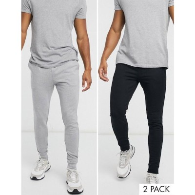 エイソス ASOS DESIGN メンズ ジョガーパンツ 2点セット ボトムス・パンツ organic skinny joggers 2 pack black/grey marl ブラック/グレー