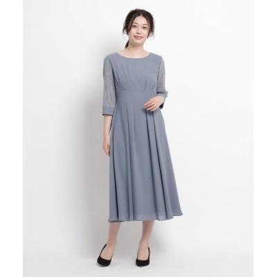 WORLD FORMAL SELECTION(ワールド フォーマル セレクション) EMOTIONAL DRESSESE 袖レースミドルワンピース