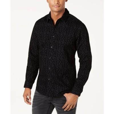 アイエヌシーインターナショナルコンセプト シャツ トップス メンズ INC Men's Flocked Floral Shirt, Created for Macy's Black Combo