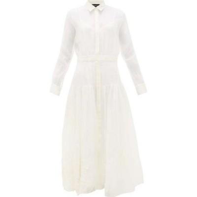 ロシャス Rochas レディース ワンピース マキシ丈 ワンピース・ドレス Floral-embroidered silk-organza maxi dress White
