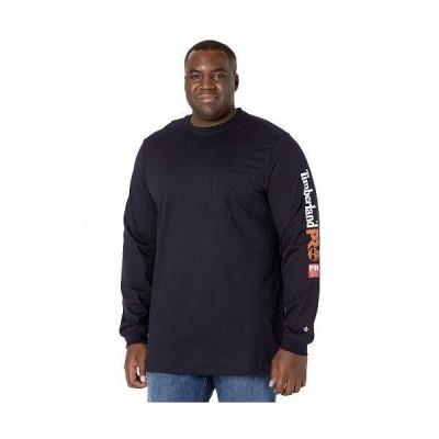 Timberland PRO ティンバーランド メンズ 男性用 ファッション Tシャツ FR Cotton Core Long Sleeve Pocket T-Shirt with Sleeve Logo - Tall - Navy