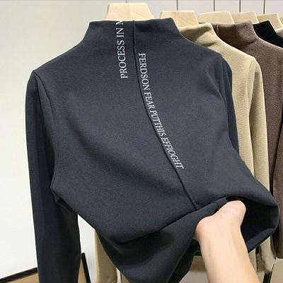 レディースベルベットボトミングシャツ韓国風新秋冬ファッション洋風プリントTシャツトップ