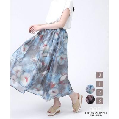 【セレクトリベリー】 フラワープリントスカート レディース ブルー L SELECT LEVERY