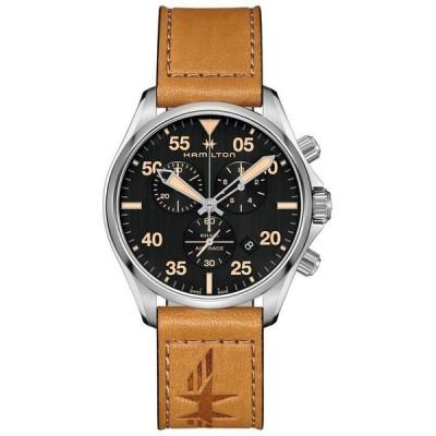 ハミルトン メンズ 腕時計 アクセサリー Men's Swiss Chronograph Khaki Pilot Brown Leather Strap Watch 44mm