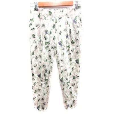【中古】ロートレアモン LAUTREAMONT パンツ レギンス ロング 花柄 36 白 ホワイト 緑 グリーン /YK レディース