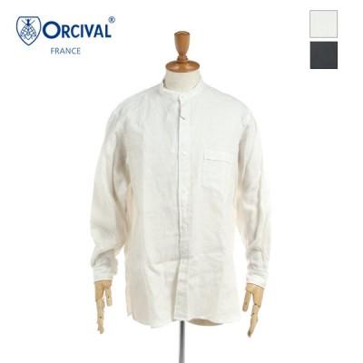ORCIVAL オーチバル オーシバル メンズ リネンキャンバス 無地 ソリッド 長袖 ヘンリーネックシャツ 25/- LINEN CANVAS RC-3793LCB