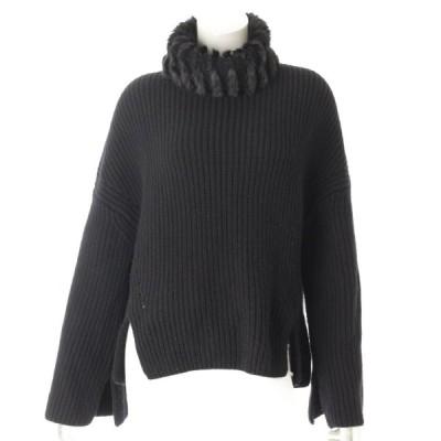 【フェンディ】Fendi カシミヤ ミンクファー付 ニット セーター ブラック 40 【中古】【正規品保証】69852
