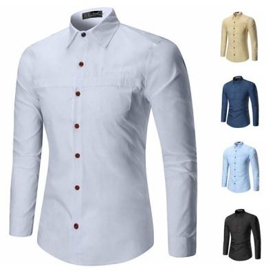 ワイシャツ メンズ カジュアルシャツ ビジネスシャツ レギュラー オフィス 長袖 シャツ トップス 大人 上品 5色 M?2XL